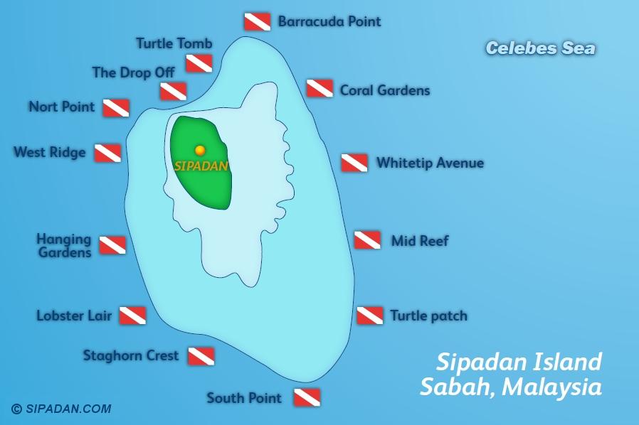 Carte des sites de plongée de Sipadan //© sipadan.com